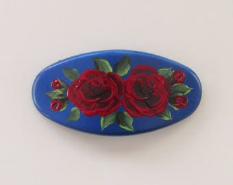 Hand-painted Blue Hair Barrette With Red Roses And French Style Clip