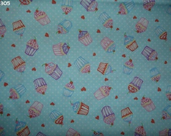 Fabric C305 Cupcakes on blue coupon 35x50cm
