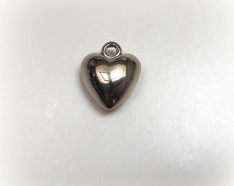 Antiqued silver tone heart charm