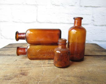 Antique Medicine Bottles  - Apotocary Bitters Bottle - Amber Bottles Wesson and Robbius New York