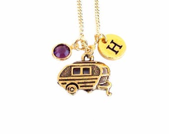 Camper  Necklace  Birthstone Included Antique Pewter Gold Plated Necklace Camper Travel Trailer Charm Jewelry Personalized  RV Travel Gift