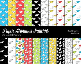 "Paper Airplanes Patterns, 20 Digital Papers (12""x12""), Photoshop Pattern File .PAT Included, Seamless, Commercial Use INSTANT DOWNLOAD"