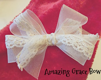 Lace cream hair bow