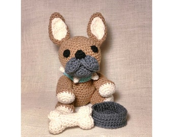 Benji The Frenchie French Bulldog Bone and Bowl Crochet Pattern PDF USA terms