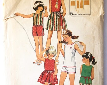 Vintage 1970s Girls Pleated Skirt, Tunic, Shorts, and Pants Sewing Pattern Size 12 Simplicity 9997