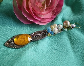 Butterscotch drop - spoon handle pendant - repurposed silverware - bridesmaid gift