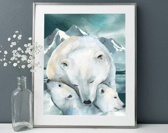 Polar Bears print,Polar Bear Nursery,Polar Bear Print, Snow Nursery,Polar Bear Art,White blue Nursery,Polar bear painting,Baby polar bear
