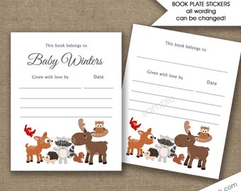 Woodland Animal Book plate Labels, personalized book stickers, printed bookplate labels, bring a book baby shower bookplates