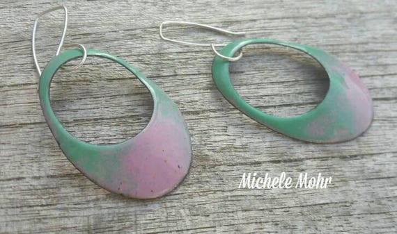 Cotton Candy Pink and Mint Large Oval Enamel Copper and Sterling Silver Earrings