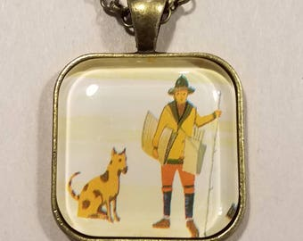 The Dog Walker - glass pendant and chain