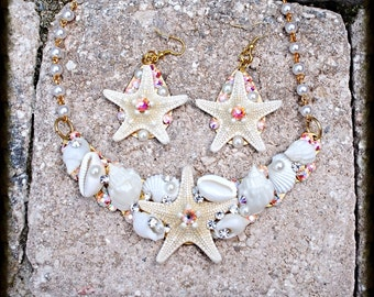 Swarovski Crystal Starfish Shell Bib Necklace and Earring Set