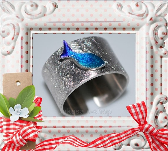 Chevalier Ring Blue Enamel Fish Sterling Silver white Gold plated Handmade Jewelry Fine Greek Art Summer time Funny holidays Girlfriend Love