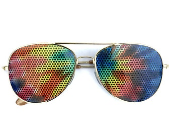 Tie-Dye Graphic Aviator Sunglasses