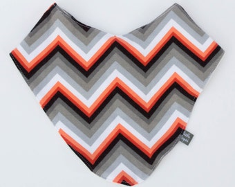 SALE orange grey chevron bib. Scarf. drool bib. Fits infant to toddlers. gray. bamboo