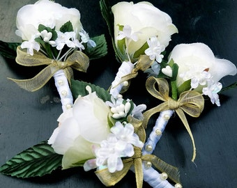 26 pieces/sets/package Bridal Bouquet, Church Pew, Wine Bottle, Boutonniere, Bridesmaid Bouquet, Corsages.