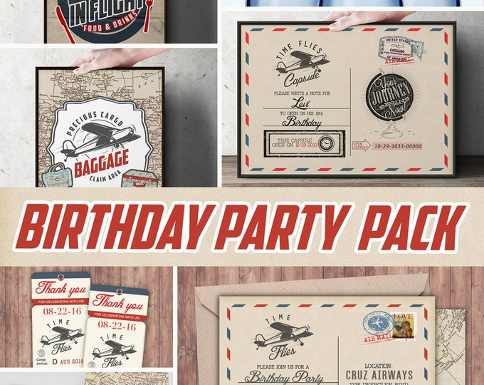 Time Flies party pack, Oh The Places You Will Go • vintage airplane invitation, travel party, airplane birthday, Digital files only