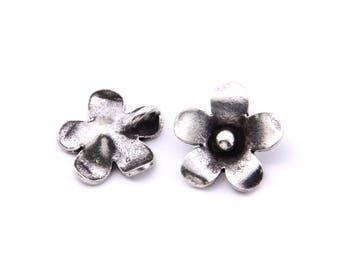 Thai Karen Hill Tribe Silver,Flower Shaped Karen Hill Tribe Handmade Charms,Charms,Karen Silver- KSC0114