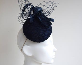 Navy Chantilly Lace Hat - Navy Fascinator-  Navy Percher Hat - Navy Cocktail Hat - Navy Blue Wedding Hat - Blue Cheltenham Races Hat - Bella