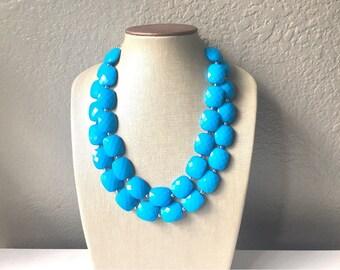 Blue Statement jewelry set, Chunky Beaded Necklace, blue Jewelry, blue Necklace, blue beaded necklace, blue earrings, blue bracelet, dress