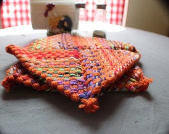 Pair of potholders - orange, multicolor