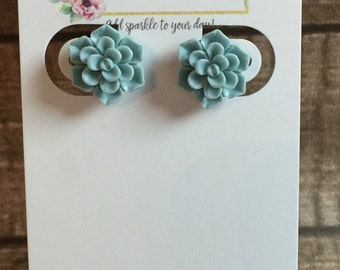 12mm Mint Green Succulent Surgical Stainless Steel Earrings