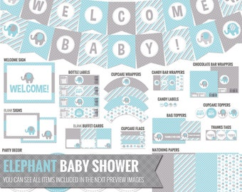 Blue Elephant Baby Shower Decorations - Printable Blue and Gray Baby Shower Package - Cute Baby Boy Shower Decor. Digital Download