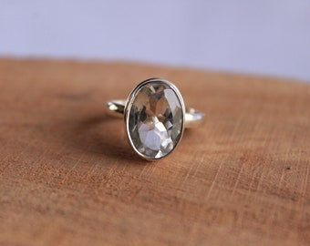 Natural Crystal Quartz Ring- Handmade Silver Ring-Sterling Silver 925--Gift for her-Promise Ring--Oval Ring