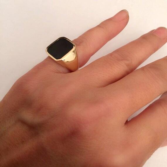 black onyx ring Signet Ring women ring men ring black
