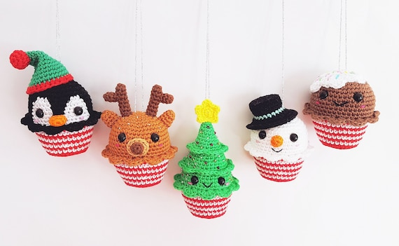 Amigurumi Nativity Español : Christmas cupcakes pdf pattern crochet amigurumi