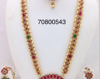 Elegant long traditional South Indian style Necklace with earrings and head piece included/|Gold Plated Jewelry|Temple Jewelry/Bridalset/