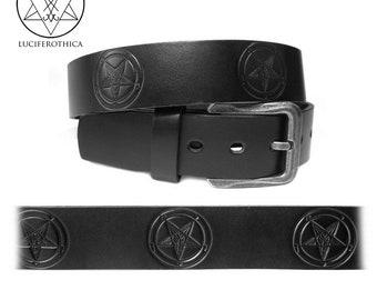 Sigil of Baphomet Belt - occult goth gothic satanic left hand path leather