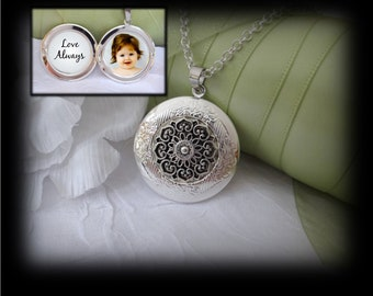 Silver ornate locket necklace holds 2 photos inserted for you