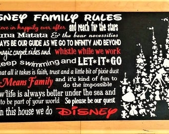 Disney wood sign, Disney, Disney Family Rules, Family rules, In This House We Do Disney, Disney Decor, Frozen