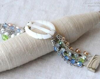 Mother Of Pearl Buckle Bracelet, Sash Buckle, MOP, White, Pearl, Blue, Green, Crystal, Milk Glass, Vintage Bead Bracelet, V