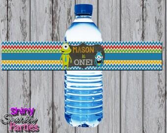 MONSTER WATER BOTTLE Labels, Little Monster Party Water Bottle Wraps, Monster Party Water Bottle Wrappers, Monster Birthday, Water Labels,