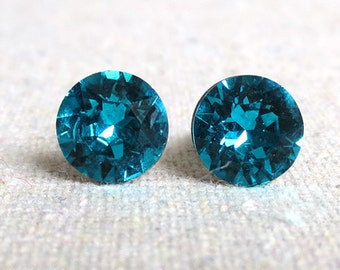 Swarovski Teal Crystal Invisible Surgical Steel Silver Post Earrings Round Brilliant Chatons Bridesmaids Ask Gifts Hypoallergenic