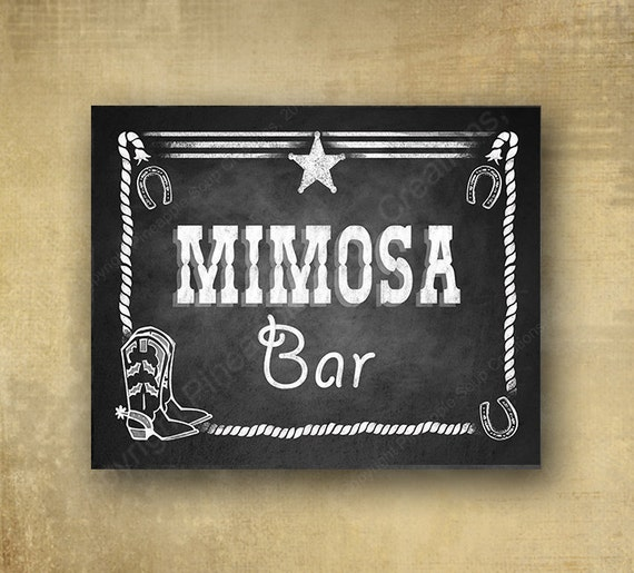 PRINTED Western Mimosa Bar Wedding or Party sign - Chalkboard signage - 3 sizes available with optional add ons