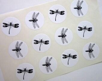 Dragonfly Stickers One Inch Round Seals