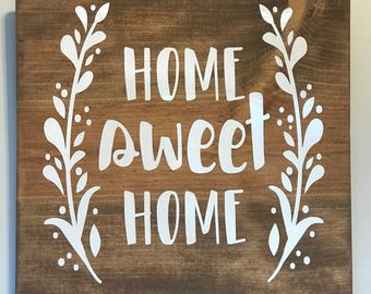 Home Sweet Home sign, Entry Sign, Gallery Wall sign, home sweet home, home sign, laurel wreath