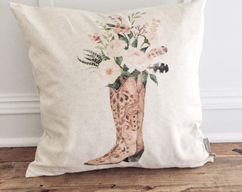 Floral Boot Pillow Cover