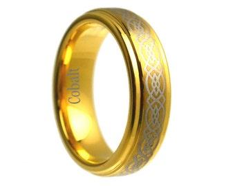 6mm 18k Yellow Gold Mens Celtic Knot Cobalt Wedding Band Ring Band Unique Rings Polished Men Beveled Custom Handmade Men's Engraved Set Hers
