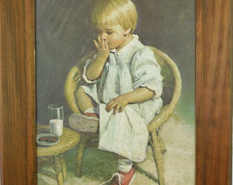 Vintage Art Print Child with Milk and Cookies Nursery Home Decor