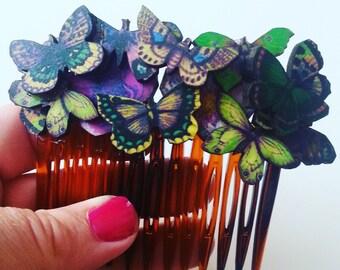 Woodland, mini butterflies, wooden, butterflies, hair comb, Autumn mix, green,purple,butterfly hair slide, by NewellsJewels on etsy