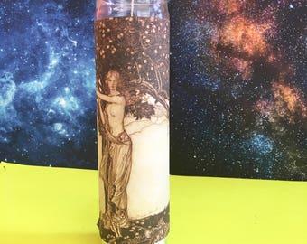 """Frejya ϟ 8"""" Altar Candle - Norse Mythology - meditation - channeling - worship - handmade"""