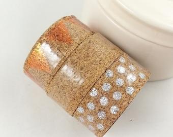 3x1m Cork Washi tape for scrapbooking scrapbook cork tape metallic decorating gifts (metallik/bronze/silver)
