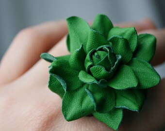 Green leather rose flower ring