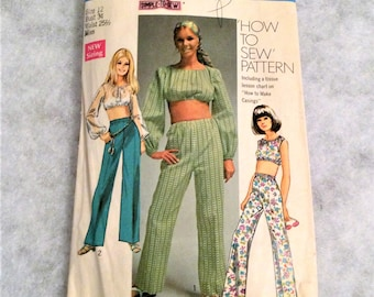 1960s Vintage Midriff Top and Pants Pattern 34 Inch Bust Simplicity 8665