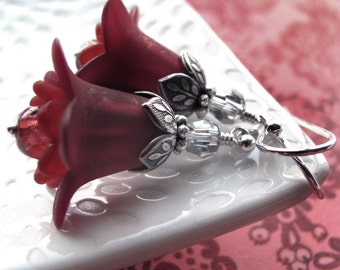 Burgundy Red Flower Earrings with Antiqued Silver - Dark Scarlet Bridesmaid Earrings, Romantic Valentines Day Gift, Love Valentine Jewelry