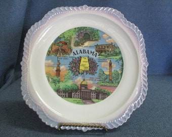 Alabama Plate with Blue Trim 1950's
