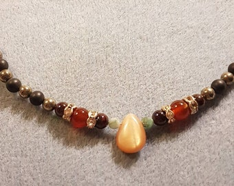 Root Chakra necklace with a lot of pyrite & Obsidian